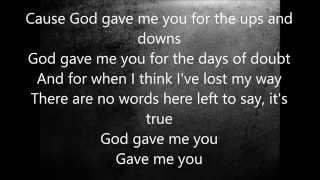 Blake Shelton - God Gave Me You (Lyrics)