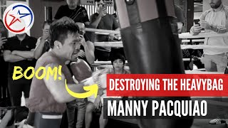 On Fire| Pacquiao Training for Thurman | He is Destroying the Heavy Bag!!!