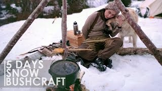 5 DAYS BUSHCRAFT OVERNIGHT - CANVAS TENT SURVIVAL BOW BREAD COOKING RUSSIAN ПЕЧЬ [Full documentary]