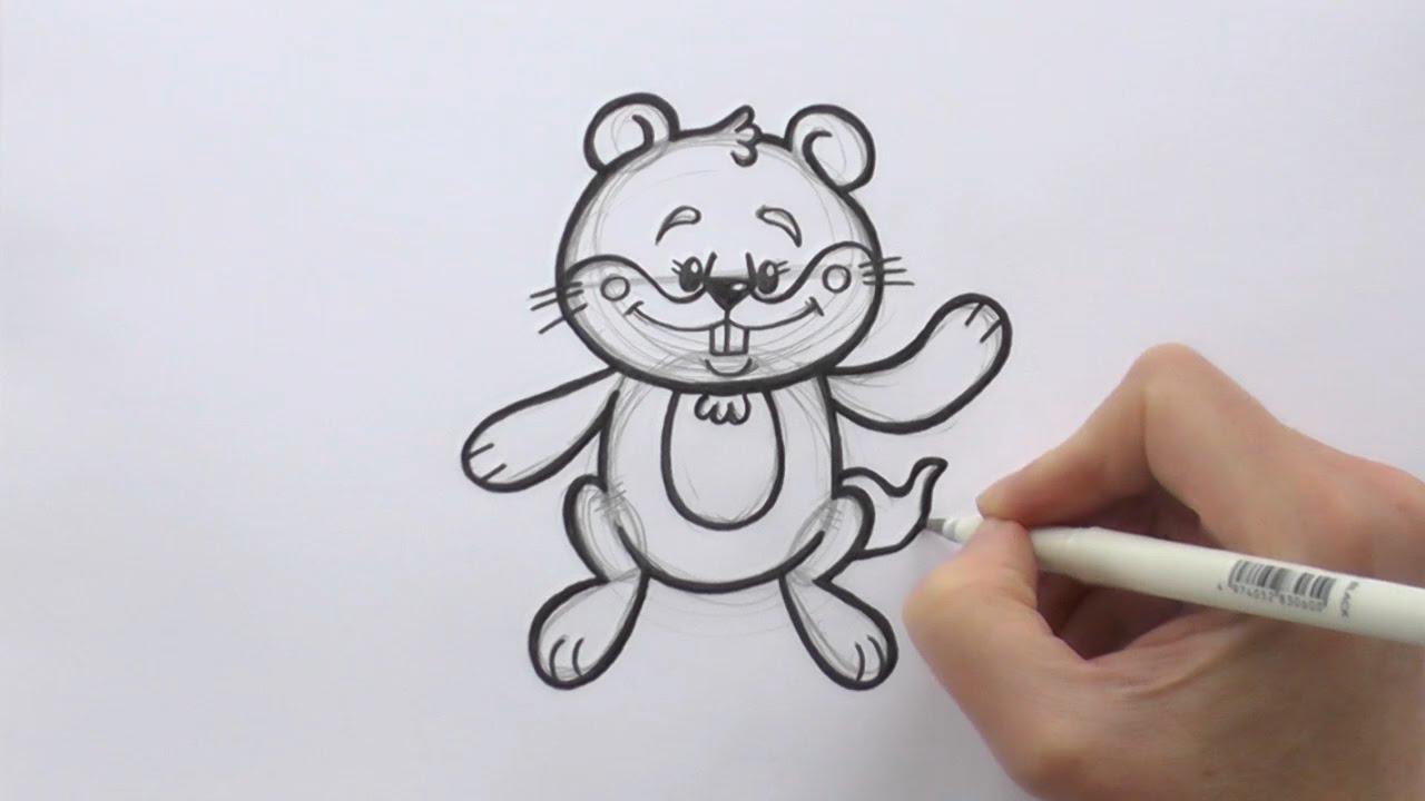 how to draw a cartoon groundhog youtube