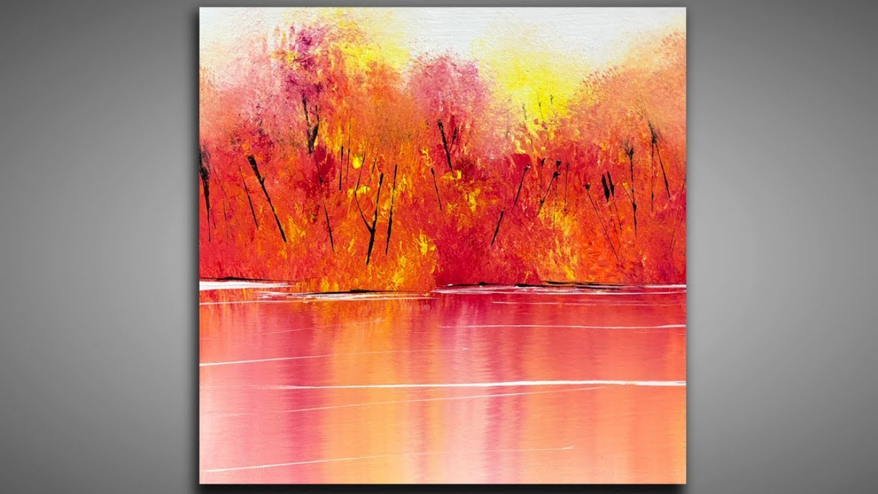 Lovely Autumn 138 Simple Landscape Brush Palette Knife Abstract Painting Demonstration