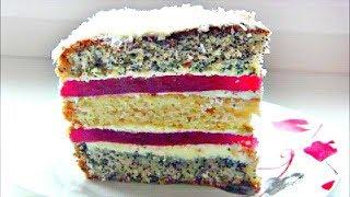 """Бисквитный торт  """" Клубничный поцелуй """" / Маковый торт с клубничным желе"""
