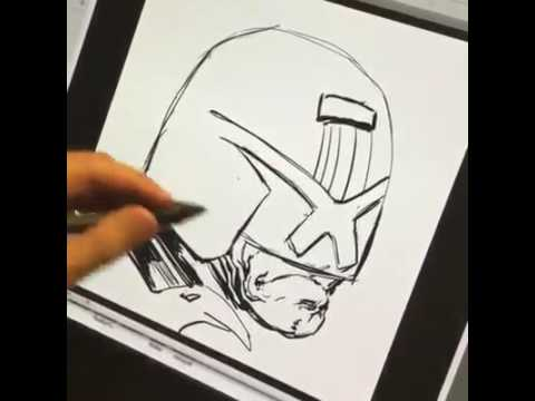 LIVE drawing of Judge Dredd in acknowledgement of the BRITS VOTING RESULTS!!