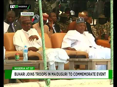 #Nigeria@57: Buhari celebrates Independence with troops in Maiduguri