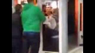 man falcon punches girl through window