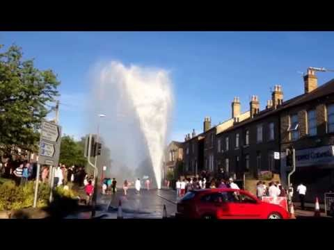 Water leak on Wellington Street, Batley