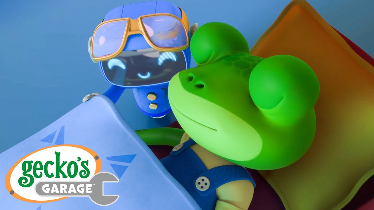 Goodnight, Sleepy Gecko! Gecko's Garage Funny Cartoon For Kids Learning Videos For Toddlers
