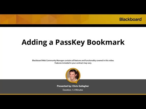 Adding a PassKey Bookmark in Blackboard Web Community Manager