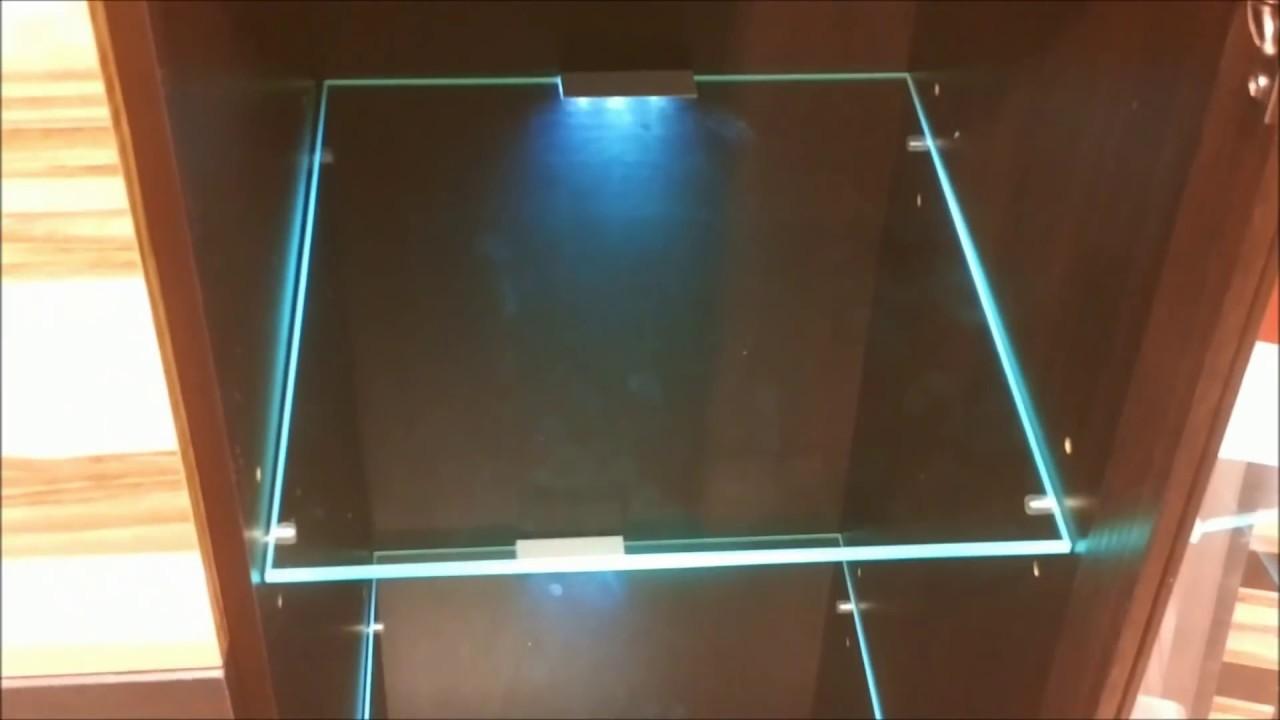 led lights edge lit glass cabinet shelf backlighting how to install blau schrank regal