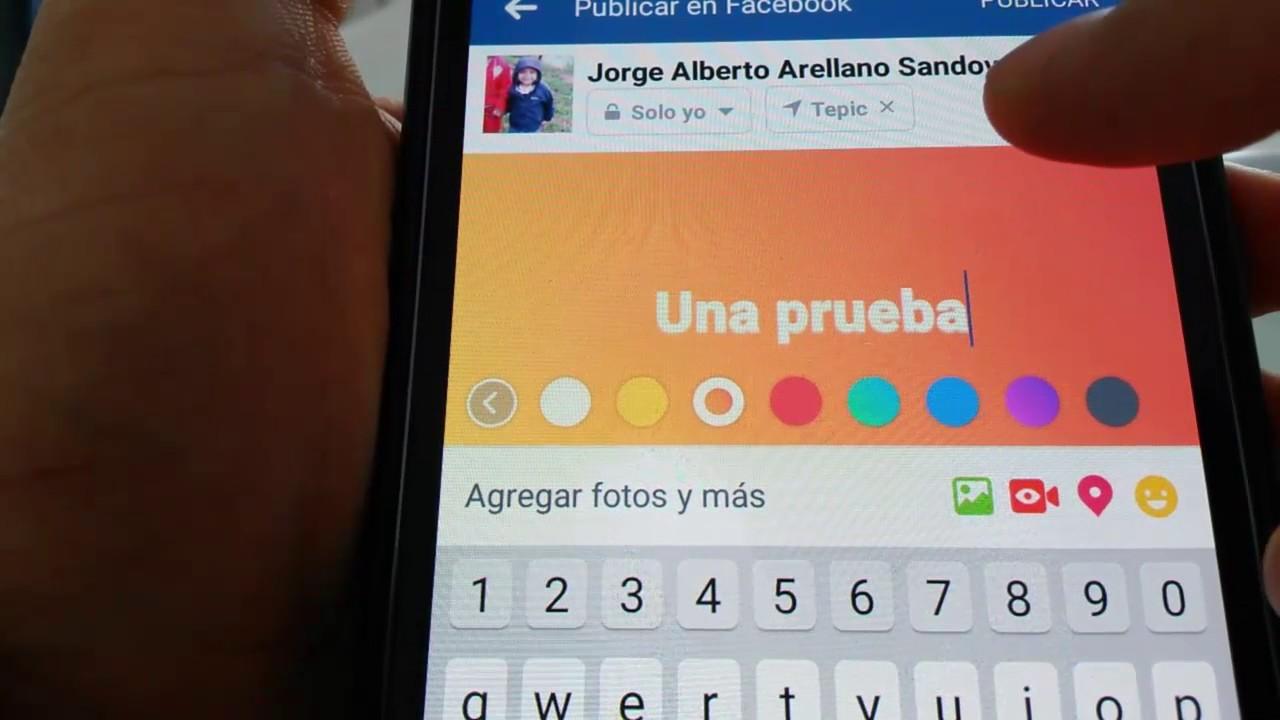 Facebook como hacer publicaciones con color de fondo - YouTube