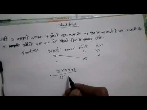 Short trick to solve time and work question based on men,women and children.