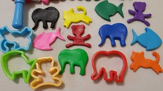 learn colors  play and learn playdoh modelling clay fun & animals shapes mold