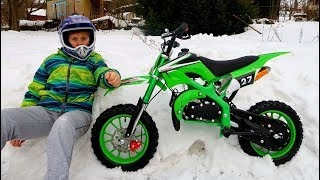 Baby Unboxing, Assembling and Ride on New Dirt Cross Bike mini Green Kids Pretend Play