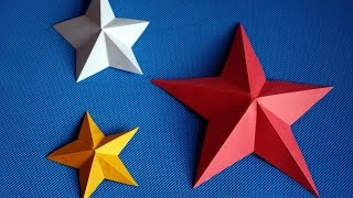 Как сделать звезду из бумаги своими руками. Оригами. Поделки к 23 февраля и 9 мая. DIY.(Смотрите видео, как сделать объемную пятиконечную звезду из бумаги своими руками без клея, сделав ножницам..., 2017-01-19T05:51:26.000Z)