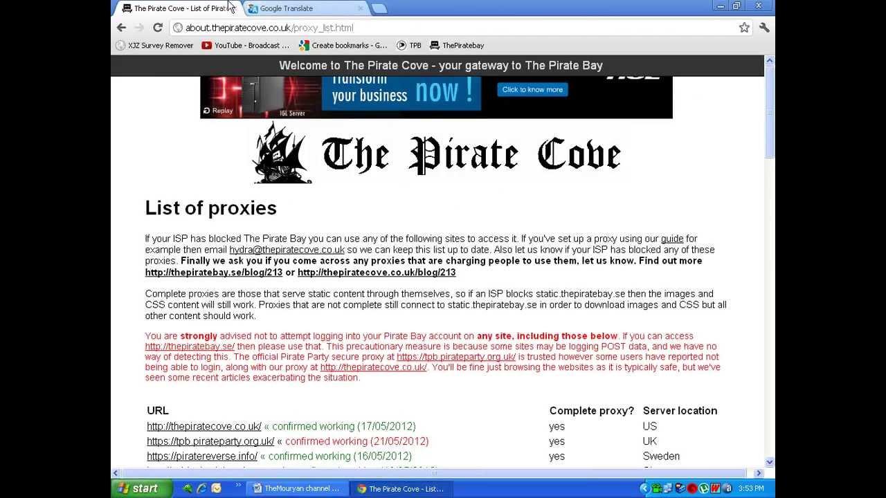 list of working pirate bays