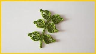 Веточка с листьями крючком. Вязание крючком / Twig with leaves crochet