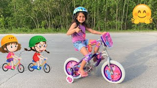 Sally LEARNS TO RIDE A BIKE!! FAMILY FUN