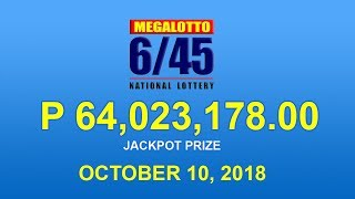 PCSO Mega Lotto 6/45 Result October 10, 2018 - Lotto Results Today