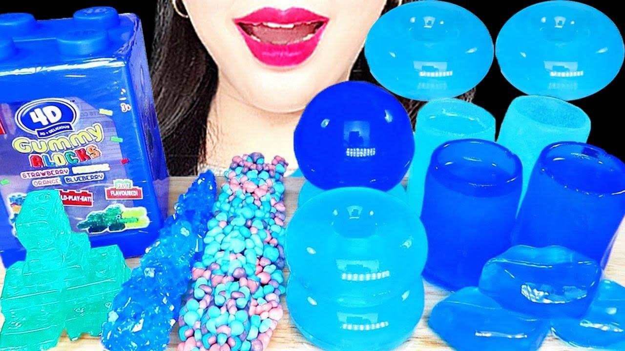 로프젤리, 락캔디, 블록젤리, 파란색 디저트, BLUE DSSERTASMR, BLOCK JELLY,  NERDS ROPE JELLY, ブルーデザート, ขนมสีฟ้า