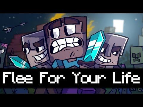 "♪ Flee For Your Life - A Minecraft Parody of ""Don't Stop Me Now"" by Queen"