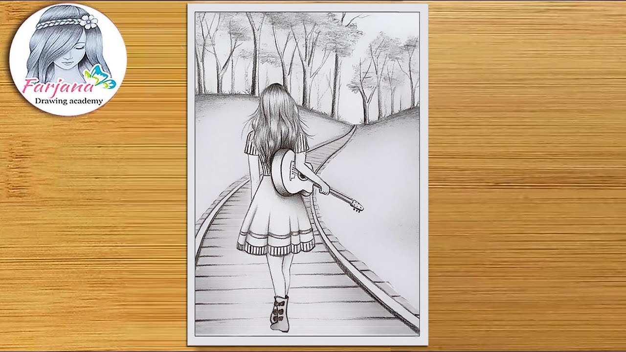 How to draw a scenery of a girl walking alone on a railway line with her guitar  || pencil sketch