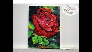 """Красные розы поэтапно маслом """"одним мазком"""".Red rose. Painting"""