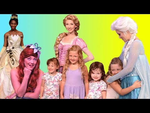 All the Disney Princesses Ava Isla and Olivia have met so far at Amusement Parks + other Characters
