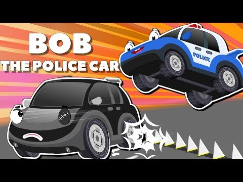 Bob the Police Car on a Mission to Catch thief cars to Rescue Ba Car  Cartoons for Kids