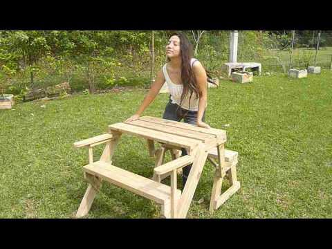 Transformer banca de jardin a mesa de picnic garden bench - Mesas de jardin ...