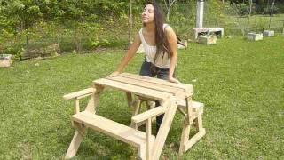 Transformer Banca De Jardin A Mesa De Picnic  Garden Bench To Picnic Table
