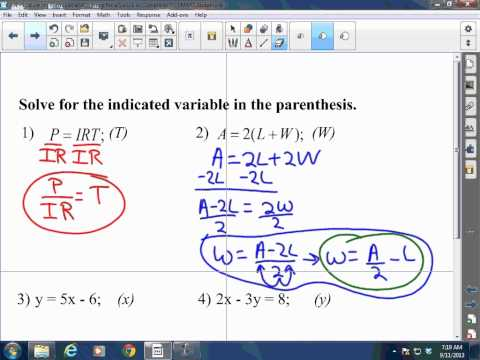Algebra I and II: 2.4 - Evaluating Formulas and Solving for a Variable