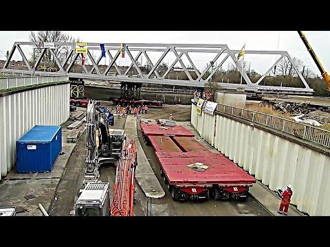 Emden Trogstrecke Neubau Eisenbahnbrücke Wagenborg Nedlift SMPT Zeitraffer timelapse