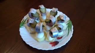 Закуска из селедки 'Рыбные кораблики'. Канапе из селедки