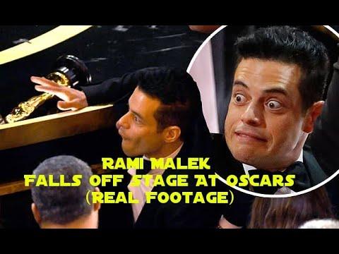 Justin The Web Guy - Oscar Winner Rami Malek Tumbled Off The Stage After Receiving His Award!
