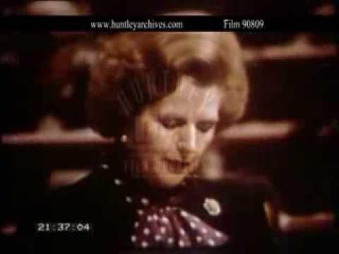 Margaret Thatcher speaks to European Parliament.  Film 90809