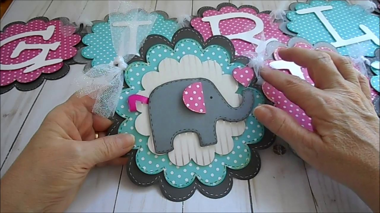 elephant themed baby shower name banner
