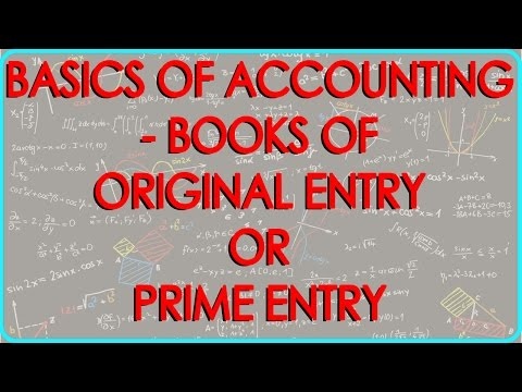 CA - CPT | Basics of Accounting - Books of Original Entry or Prime Entry