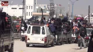 ببّيلا- خروج بعض المدنيين من البلدات المهادنة في جنوب دمشق 27- 3 -2014