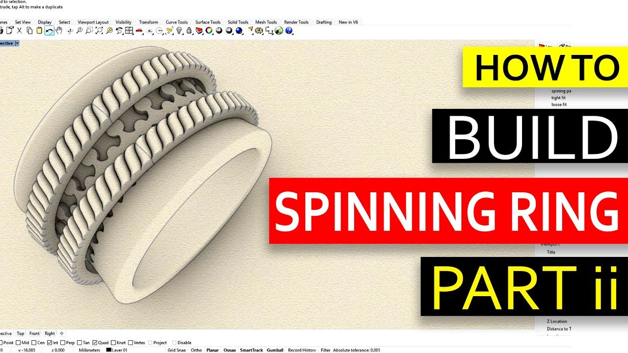 How to Design a Spinning Ring in Rhino 6 (Part II) - Jewelry CAD Design  Tutorial #53