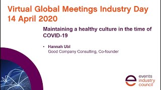 #GMID20 webinar | Maintaining a healthy culture in the time of COVID-19