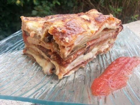 cuisine-italienne---lasagne,-aubergines-et-jambon