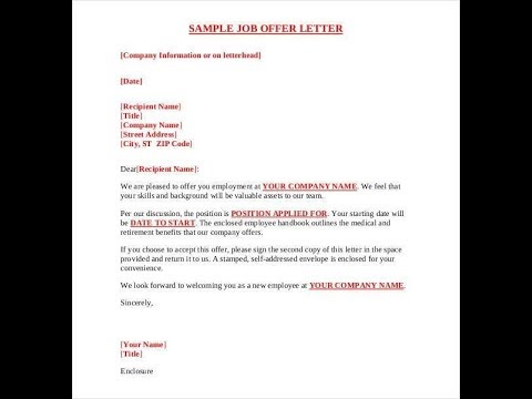 employment offer letter what should you look out for offer letter before 21500 | hqdefault