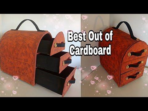 BEST OUT OF WASTE / CARDBOARD ORGANIZER/ CARDBOARD STORAGE BOX/TRUNK: