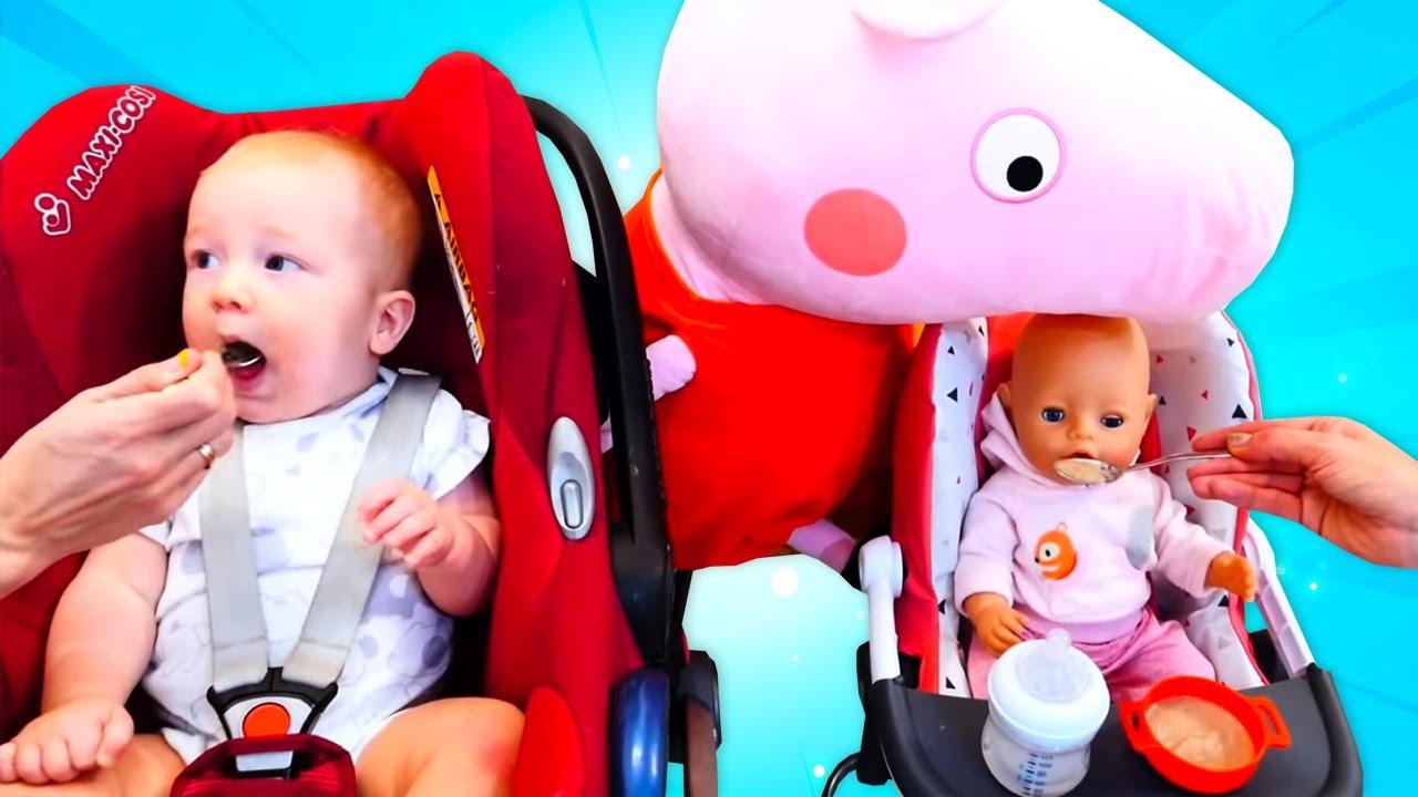 Começando o dia com Peppa Pig! Aprendendo a ser mamãe. Historinha com a boneca Baby Born