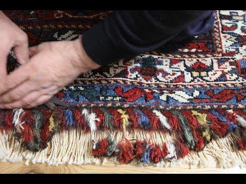 Antique Kazak Rug Restoration, Knots Tied & Re-piling Complete, Trimming to Groom