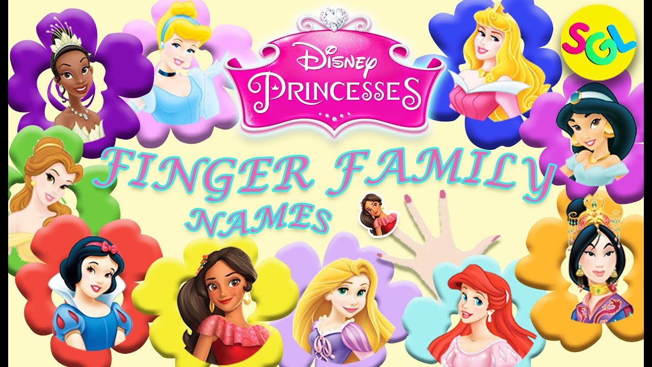 Disney Princesses Finger Family Song Character Names Daddy