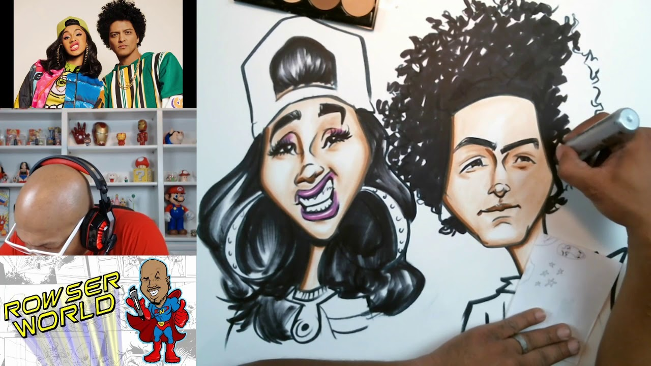 Cardi B Drawing: Speed Drawing Bruno Mars And Cardi B From Finesse