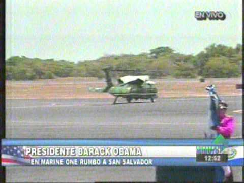 Despegue del Marine One con Barack Obama desde el Aeropuerto de El Salvador