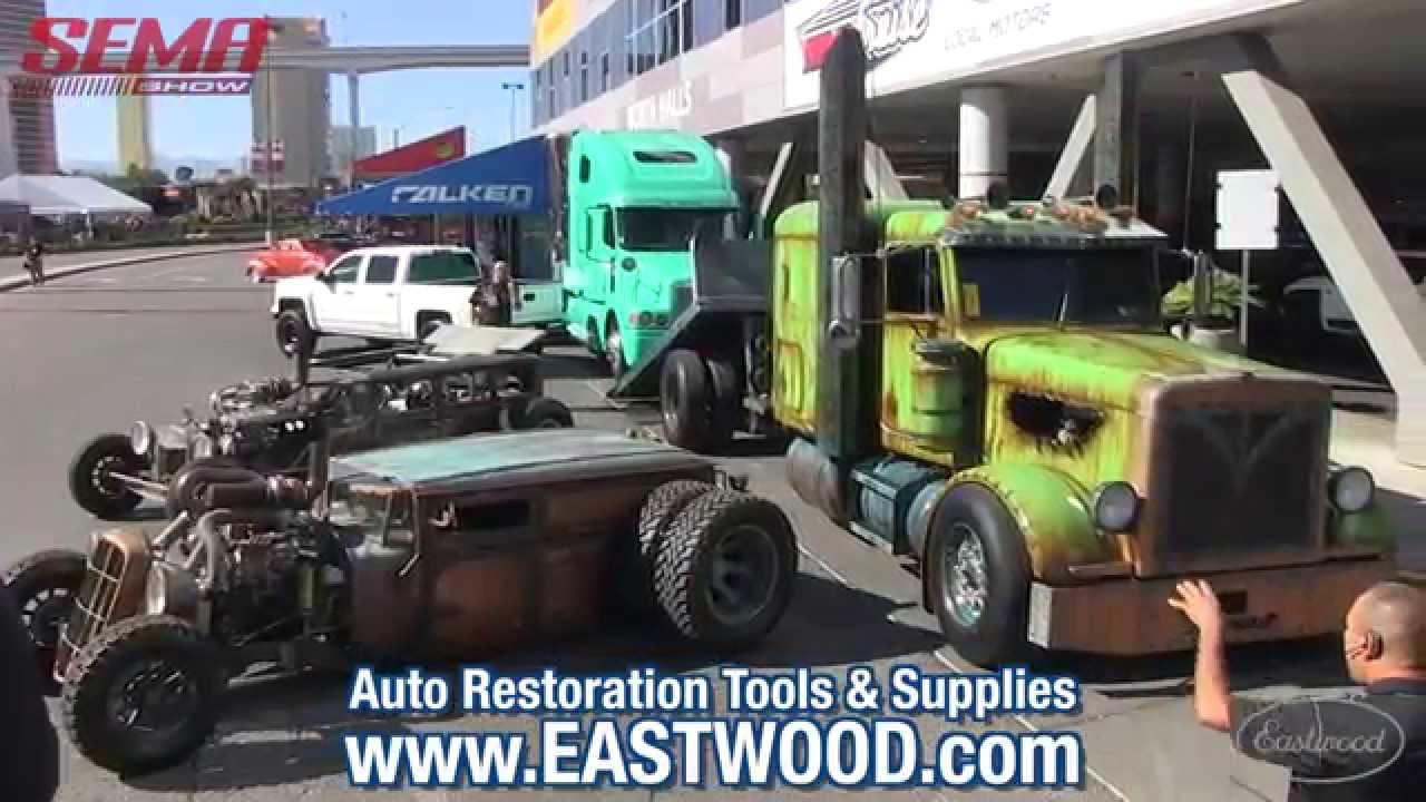 Welderup Rat Rod Car Hauler Tractor At Sema 2015 Vegas Rat Rods Eastwood Youtube