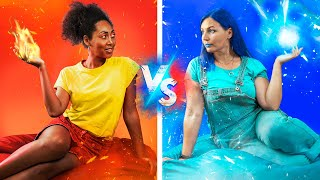 Desafío de: ¡Frío vs Caliente! / Chica Ardiente vs Chica Helada